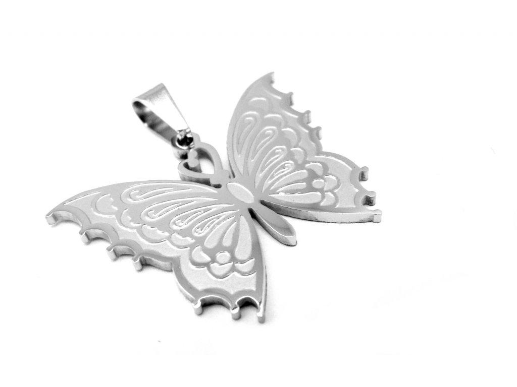přívěsek - chirurgická ocel - motýl - 120129