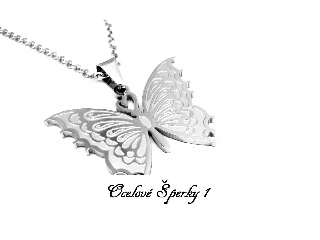 řetízek a přívěsek - náhrdelník - chirurgická ocel - motýl - 140129