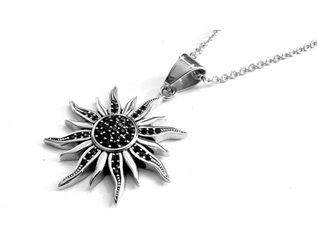 řetízek a přívěsek - náhrdelník - chirurgická ocel - slunce - 130211