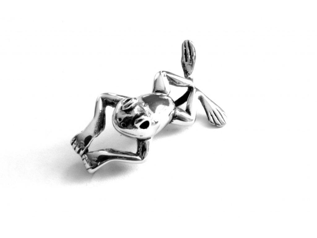 přívěsek - chirurgická ocel - žába - 151019