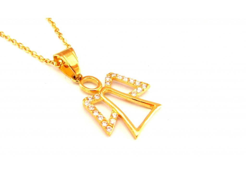 řetízek s přívěskem (náhrdelník) - chirurgická ocel - anděl - gold - 121115