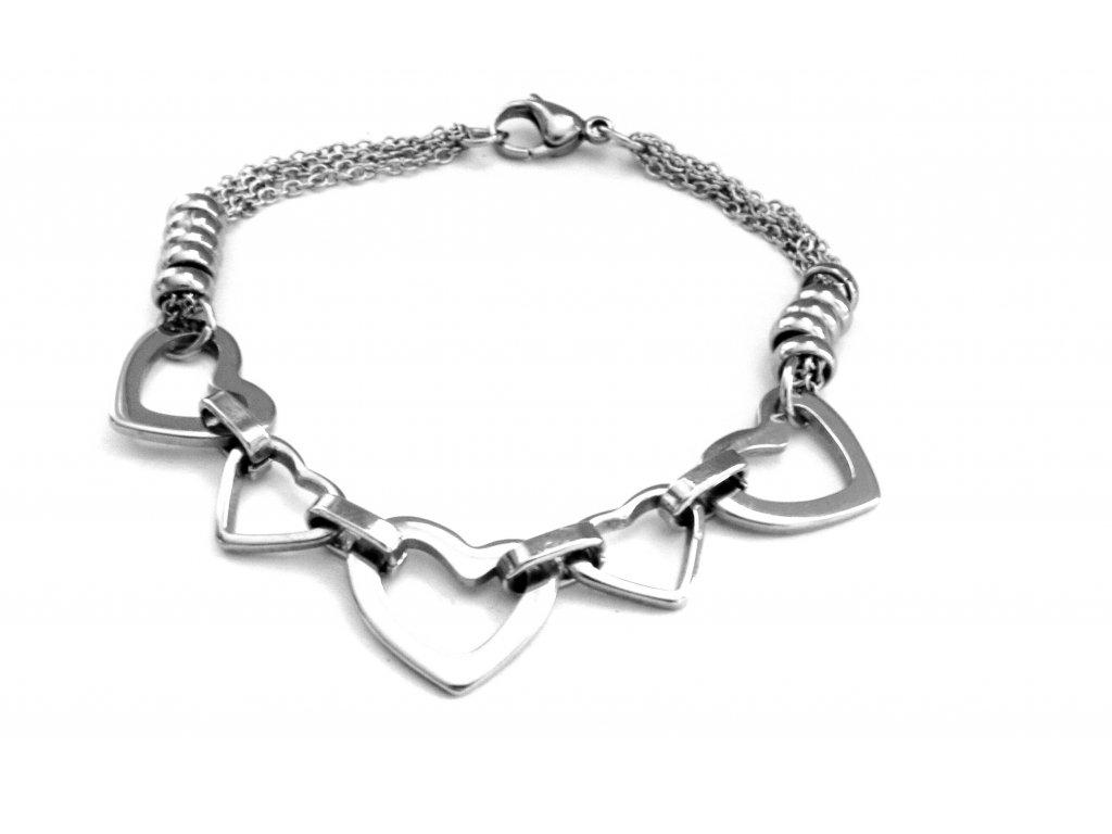 náramek - chirurgická ocel - dámský - srdce - 606018