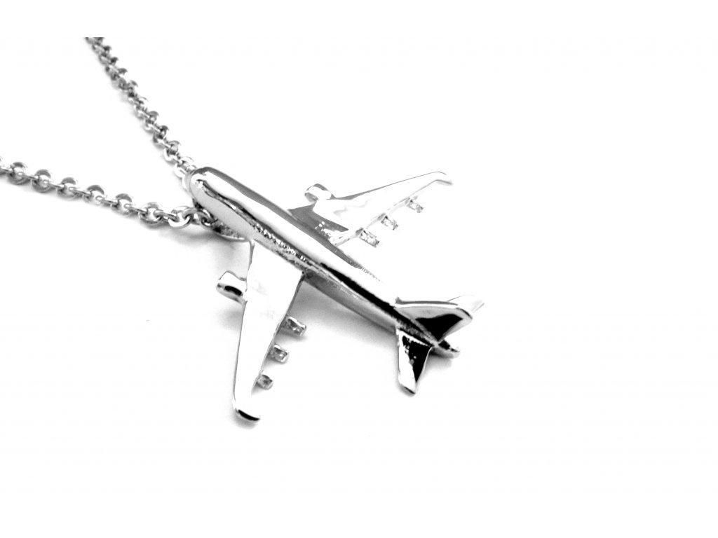 řetízek a přívěsek (náhrdelník) - chirurgická ocel - letadlo - 080356