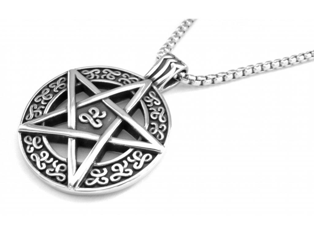řetízek a přívěsek - chirurgická ocel - pentagram - 121171
