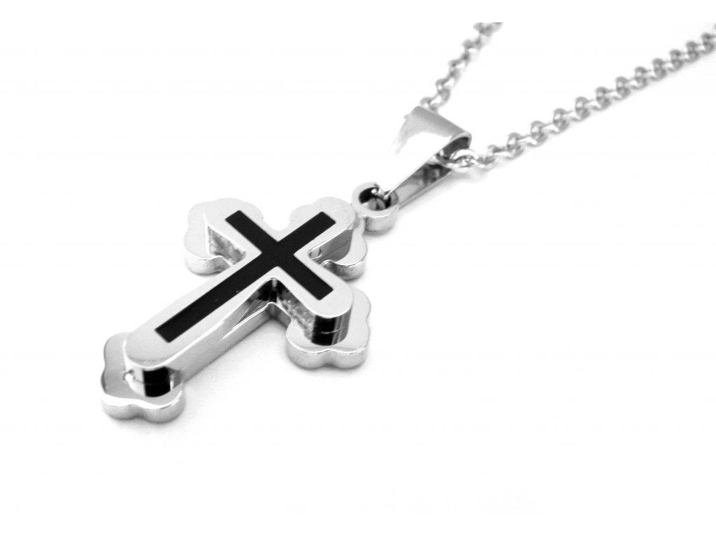 řetízek s přívěskem - chirurgická ocel - křížek - 090247