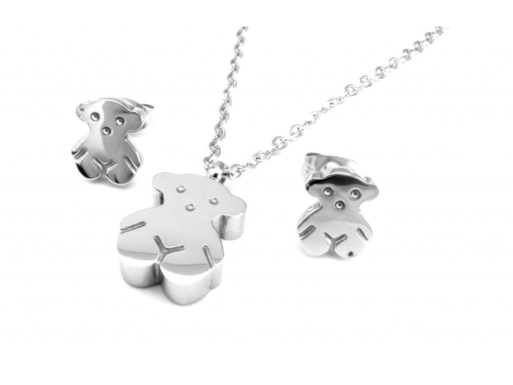 souprava - náhrdelník a náušnice - chirurgická ocel - medvídek - 081201