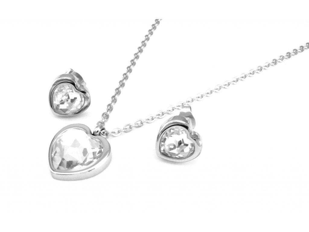 souprava - náhrdelník a náušnice - chirurgická ocel - srdce - 090195