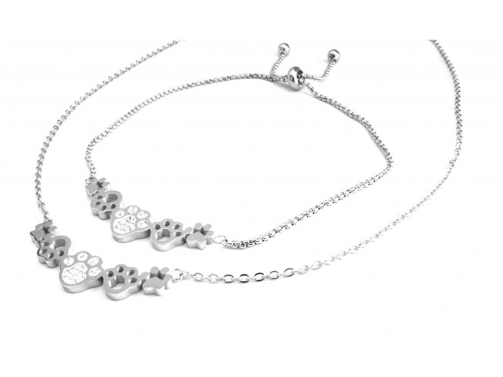 souprava - náhrdelník a náramek - chirurgická ocel - tlapky - 090488