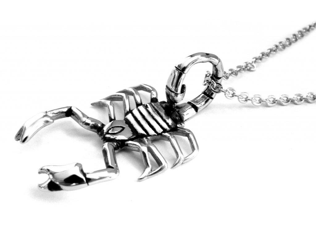řetízek a přívěsek, náhrdelník - chirurgická ocel - škorpion - 130201