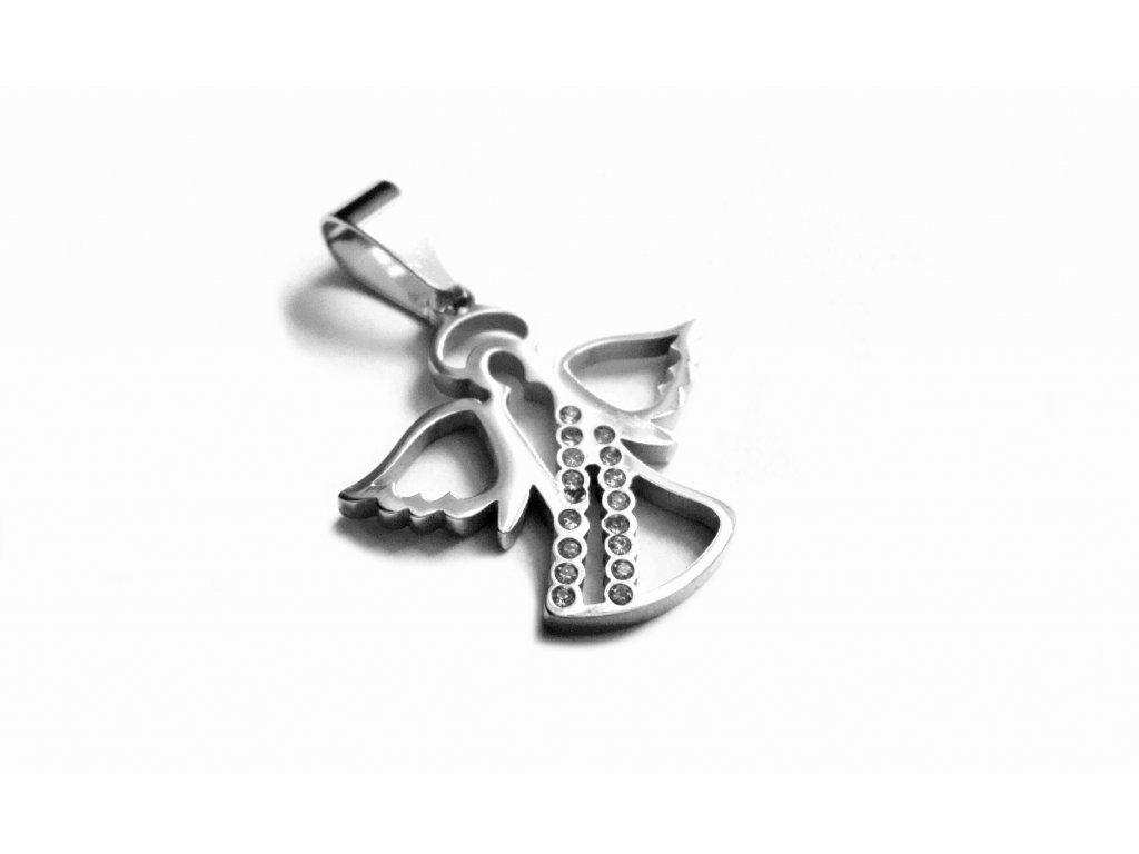 přívěsek - chirurgická ocel - anděl - 141107