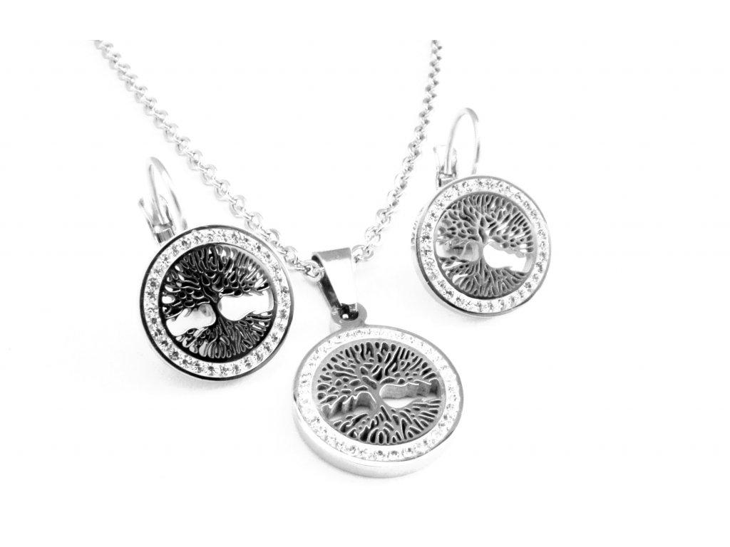 souprava - náušnice a náhrdelník - chirurgická ocel - strom života - 080354