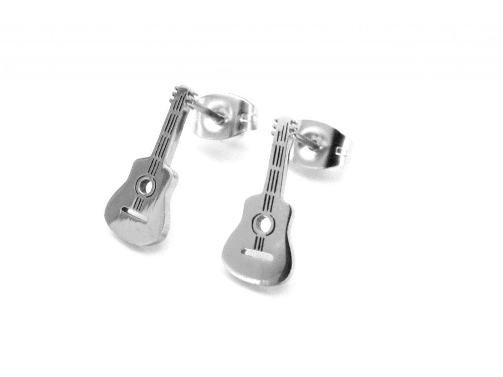 náušnice - chirurgická ocel - kytara - 090190