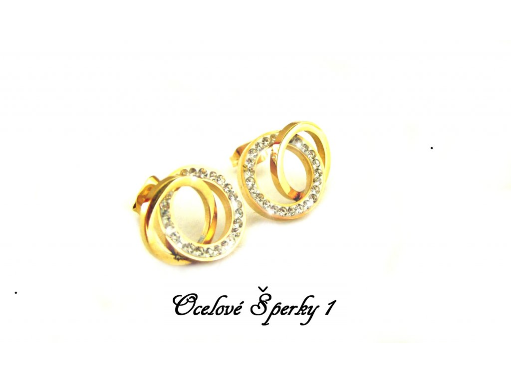náušnice - chirurgická ocel - gold - 140306