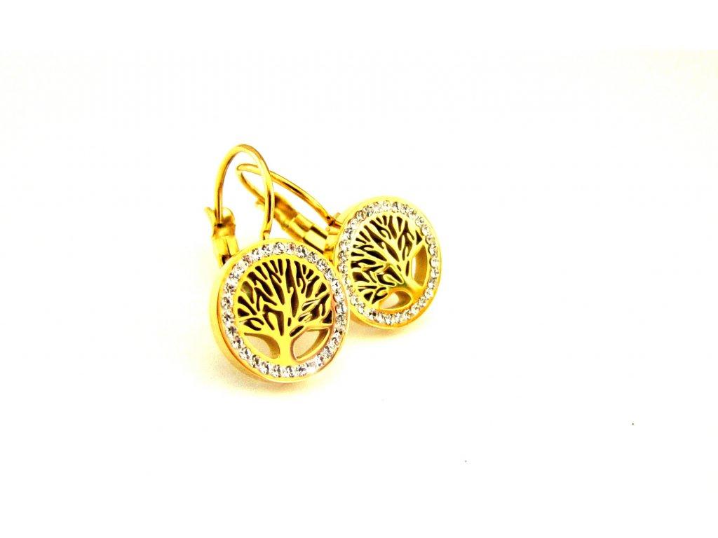 náušnice - chirurgická ocel - strom života - gold - 150111
