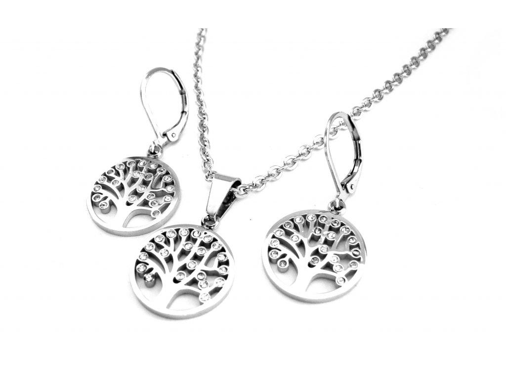 souprava - náušnice a náhrdelník - chirurgická ocel - strom života - 150327