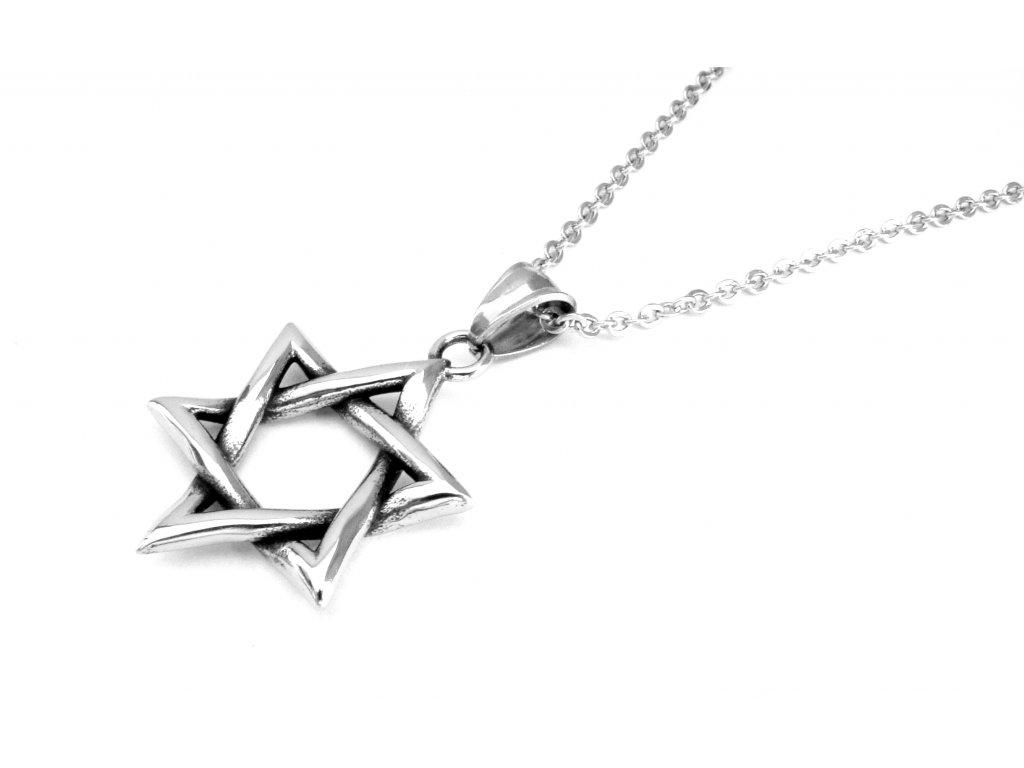 řetízek a přívěsek - chirurgická ocel - pentagram - 180303