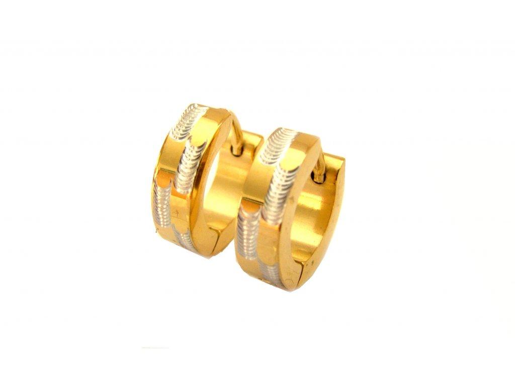 náušnice - chirurgická ocel - kroužky - gold - 140307