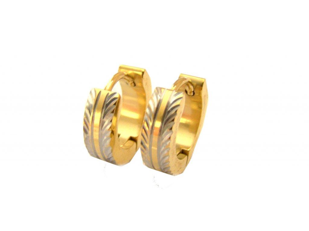 náušnice - chirurgická ocel - kroužky - gold - 130189