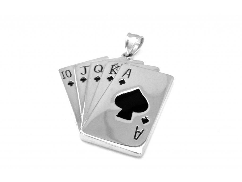 přívěsek - chirurgická ocel - karty - 130168