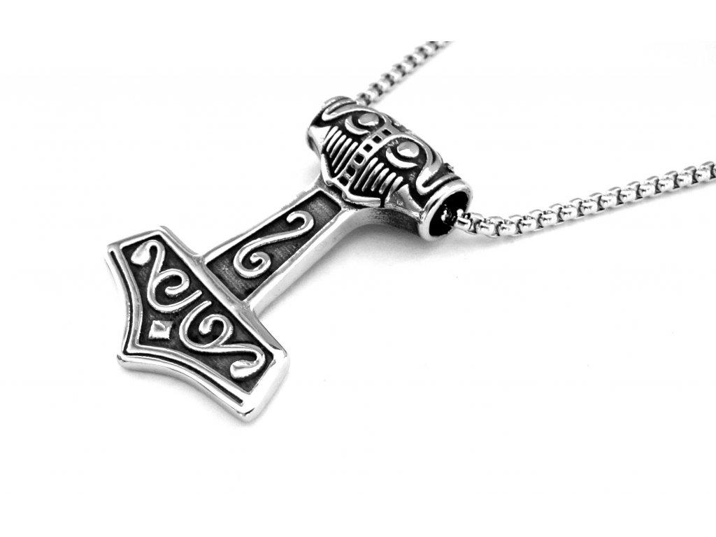 řetízek, náhrdelník - chirurgická ocel - thorovo kladivo - 151211