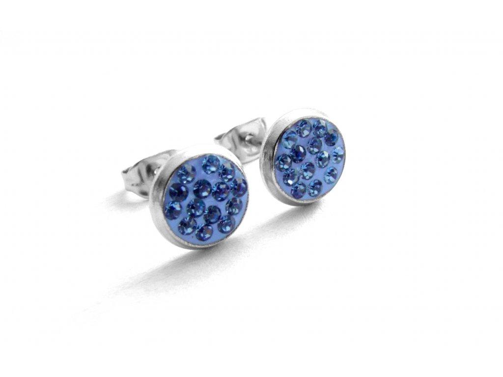 náušnice - chirurgická ocel - pecky - modré - 150115