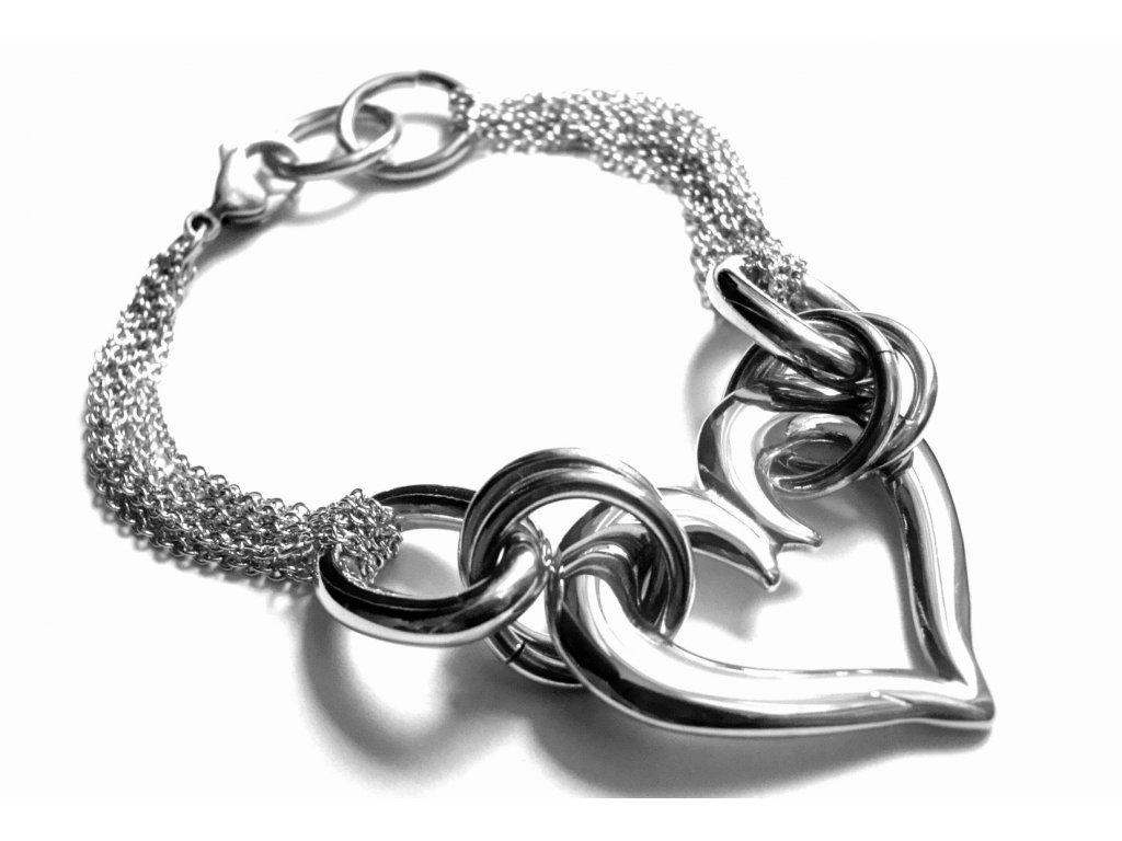 náramek - chirurgická ocel - dámský - srdce - 140114