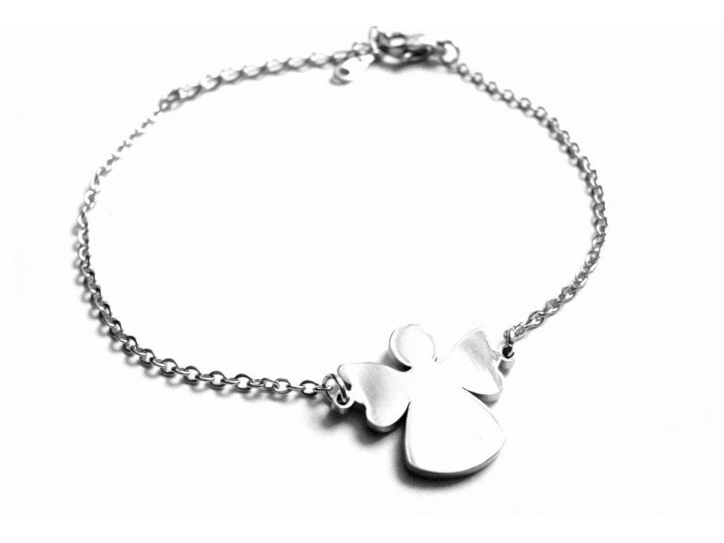 náramek - chirurgická ocel - anděl- jemný - dámský - 150104