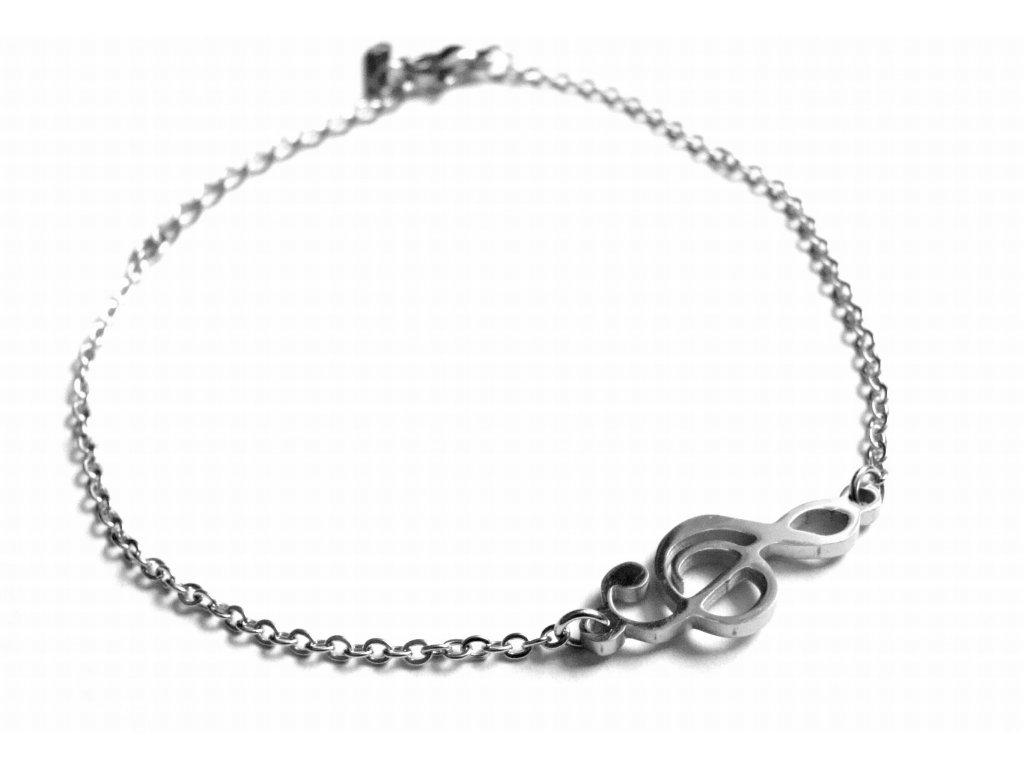 náramek - chirurgická ocel - jemný - houslový klíč - 151101