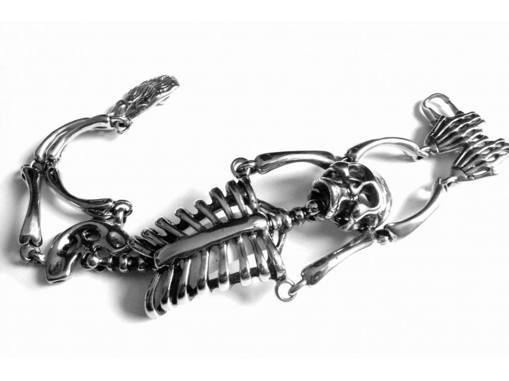 náramek - chirurgická ocel - motorkářský - kostra - 160102