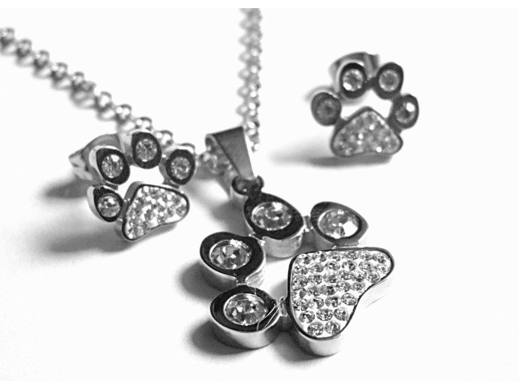 souprava - náhrdelník a náušnice - chirurgická ocel - tlapky - 151109