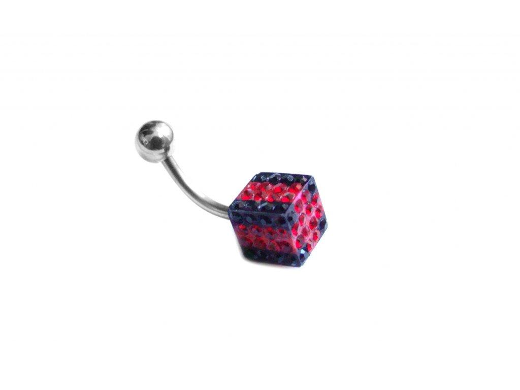 piercing - kostka - červenočerná - 121156