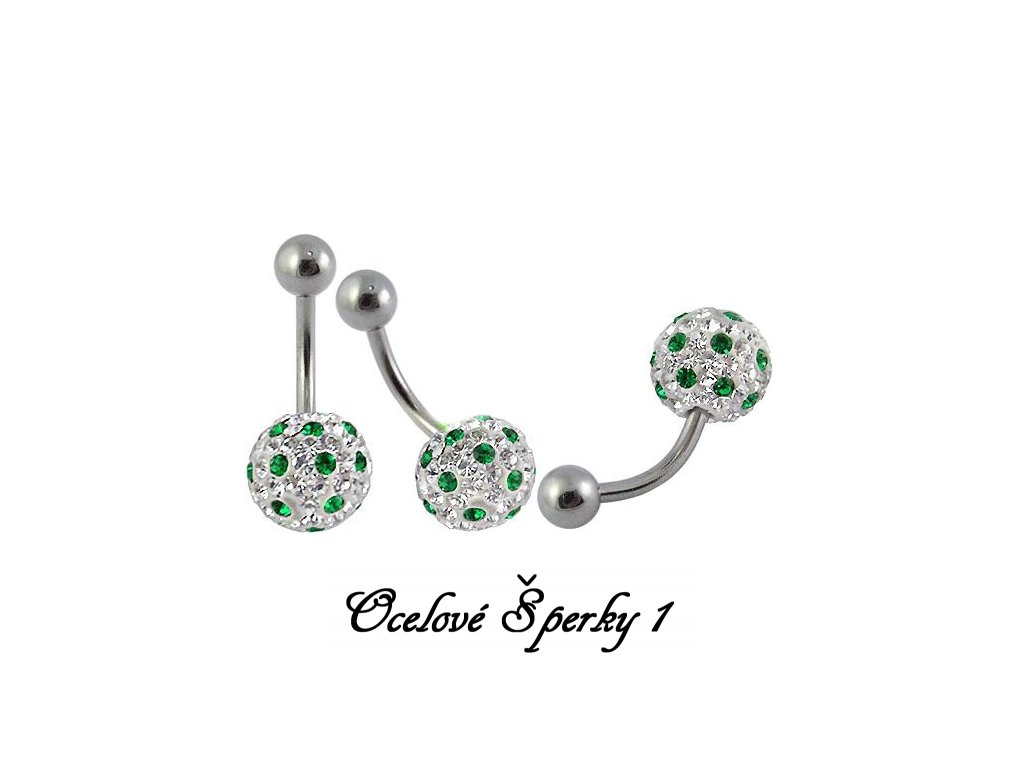 piercing s krystaly - koule - zelenobílá - 121138