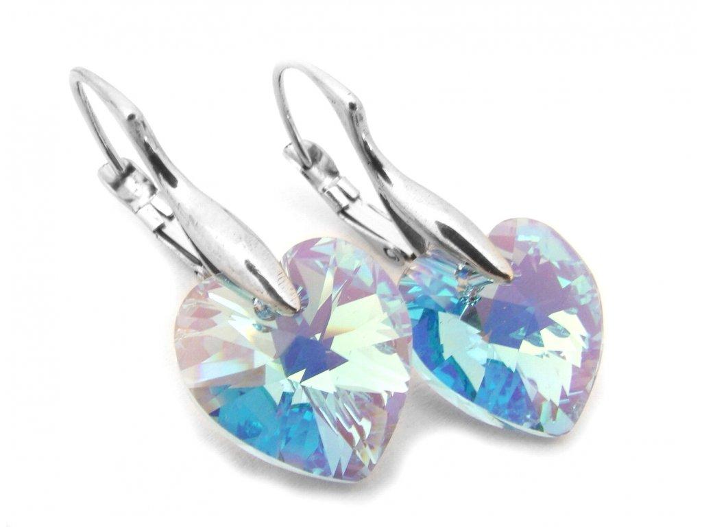 náušnice - chirurgická ocel - srdce s krystalem - 090359