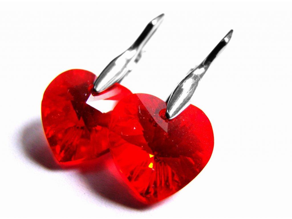 náušnice - chirurgická ocel - srdce s krystalem - 500421