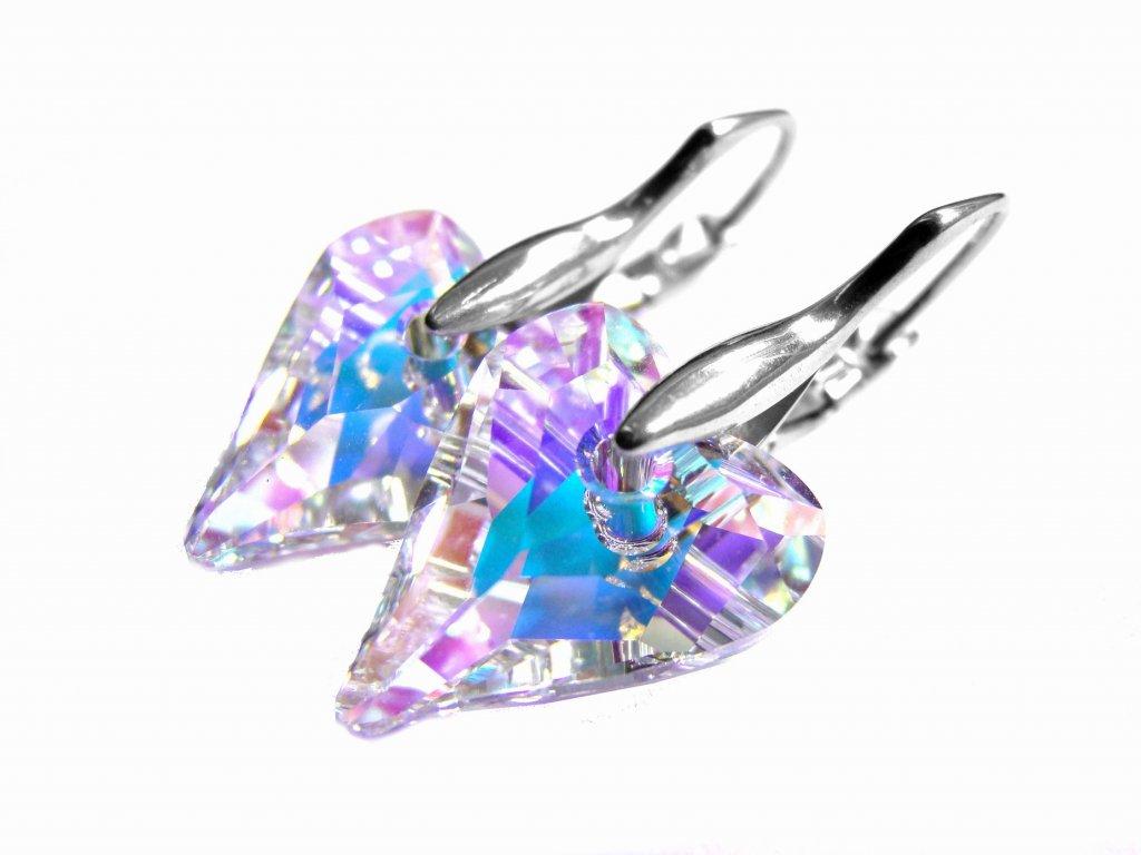 náušnice - chirurgická ocel - srdce s krystalem - 080344