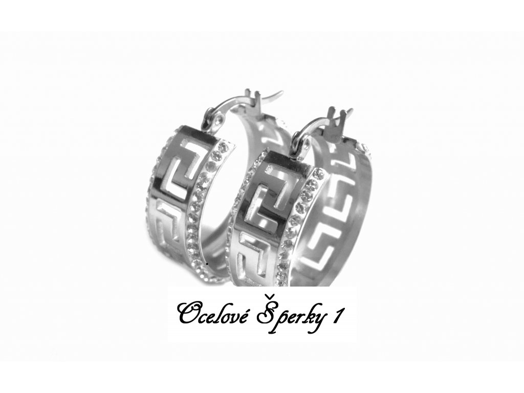 náušnice - kruhy s krystalky - chirurgická ocel - 090279