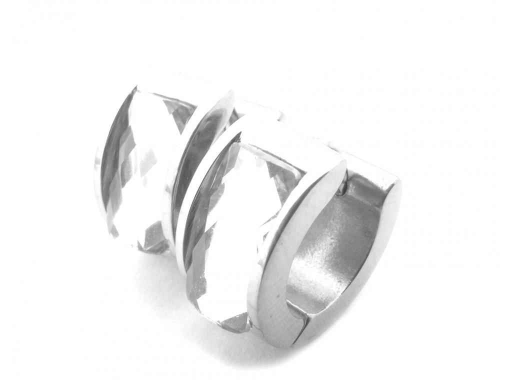 náušnice - chirurgická ocel - kroužky s kamínkem - 090342
