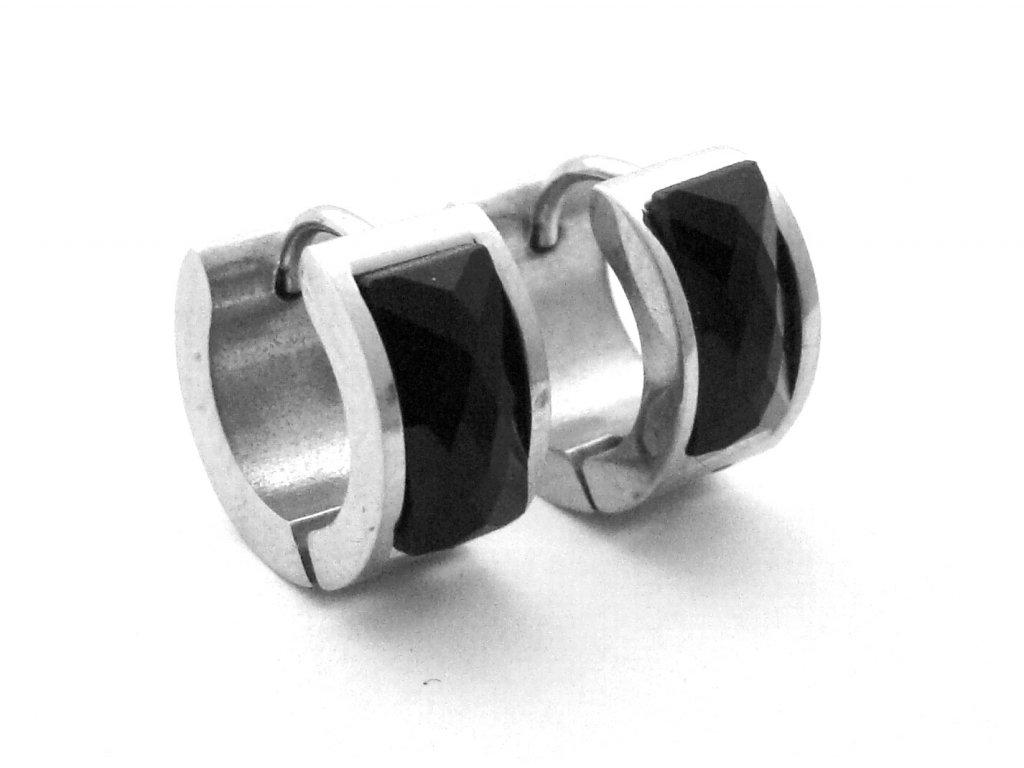 náušnice - chirurgická ocel - kroužky s kamínkem - 090343