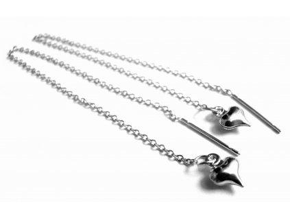 protahovací náušnice - provlékací - chirurgická ocel - srdíčka - 130141