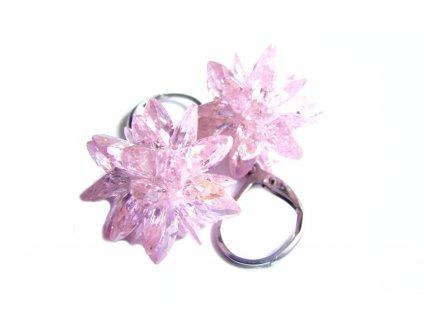 náušnice - chirurgická ocel s krystalky - růžové - 140125