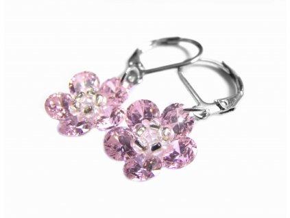 náušnice - chirurgická ocel - kytičky růžové - 150916