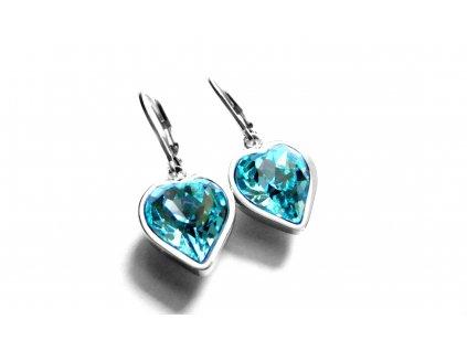 náušnice - chirurgická ocel - srdce - tyrkyzové - 150910