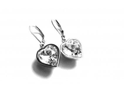 náušnice - chirurgická ocel - srdce - bílé - 151115