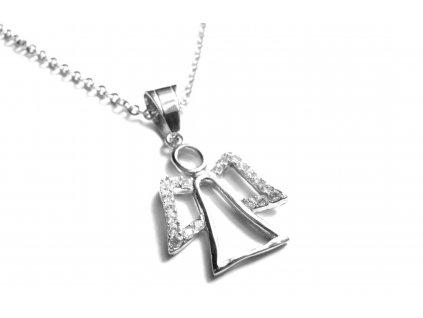 řetízek s přívěskem - chirurgická ocel - anděl - 080364