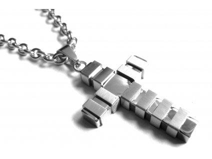řetízek s přívěskem - kříž - chirurgická ocel - 160310