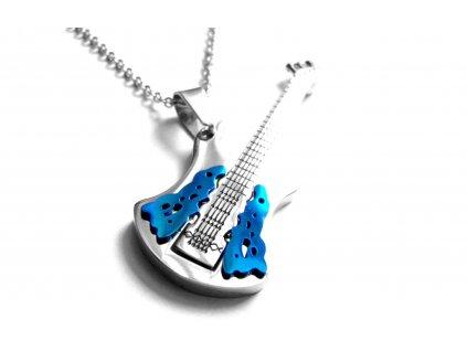 řetízek s přívěskem - chirurgická ocel - kytara - 500439