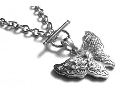 náhrdelník - chirurgická ocel - motýl - dámský - 111121