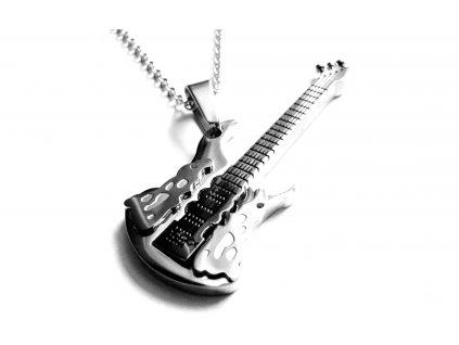 řetízek s přívěskem - chirurgická ocel - kytara - 160402