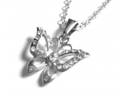 řetízek s přívěskem - chirurgická ocel - motýl - 140933