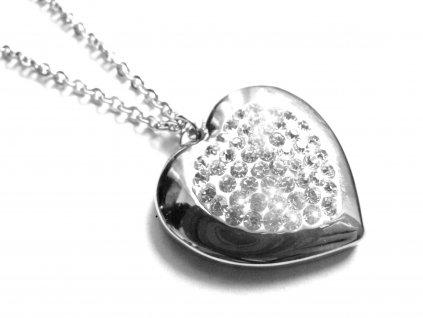 řetízek s přívěskem - chirurgická ocel - srdce - 151104